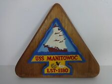 US Navy Ship Wall Plaque USS Manitowoc LST 1180 Wood Ceramic Blue Yellow Vintage