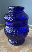 Unique Antique Grapes and Cherry Embossed Cobalt Blue Glass Lidded Jar Biscuit