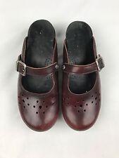 DANSKO Womens Size 8/39 Burgundy Red Clogs Shoes Slip On Eyelet Detail Buckles