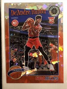 2019-20 NBA Hoops Premium Tribute De'Andre Hunter RC RARE RED CRACKED ICE PRIZM