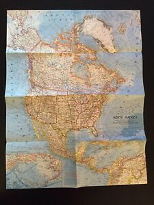 Vintage 1964 National Geographic Society Map of North America