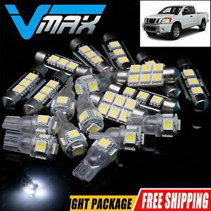 20 PCS White Interior LED Lights Package Kit Deal Fit Nissan Titan 2004-2014