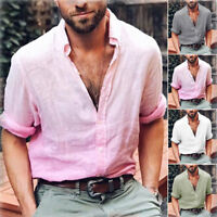 Men's Summer Linen Long Sleeve Shirt Cool Loose Casual V-Neck Shirts Tops  M-3XL