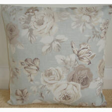 """14"""" Cushion Cover Taupe Beige Brown and Ivory Roses Duck Egg Blue Floral Flowers"""