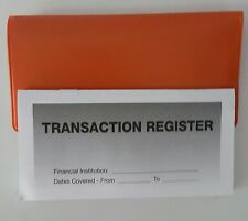 12  Checkbook Transaction Registers & 1 Orange Vinyl Check Book Cover  Duplicate