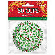 Cupcake Cases Holly Design 50pk A14343 Party Decoration Christmas Bakery Holders