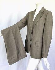 Ann Taylor Loft Brown Plaid Lined Blazer & Pants Suit 2 PC Career Sz 8/4 R20