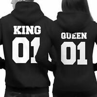 King and Queen 01 Couple Matching Hoodies Sweatshirt Long Sleeve Hooded Sweater