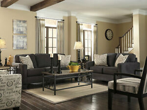 Modern Living Room Furniture Gray Microfiber Fabric Sofa Couch Loveseat Set IG3D