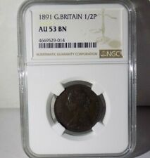 GREAT BRITAIN 1891 1/2 P HALF PENNY NGC AU53 BN AU 53 England Certified UK Coin