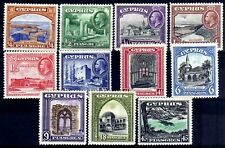 CYPRUS 1934 PICTORIALS SET HINGED MINT, SG 133-143
