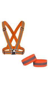 Reflective Hi Vis High Visibility Adjustable Vest and 2 Straps - Hycoprot