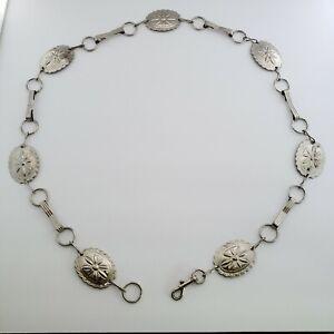 Vintage Womens Southwest Concho Adjustable Chain Belt Indian Silver Tone Metal