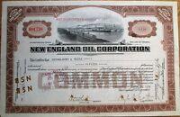 'New England Oil Corporation' 1922 Stock Certificate - Virginia VA - Brown