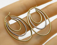 925 Sterling Silver - Vintage Two Toned Layered Oval Hoop Earrings - E2061