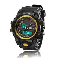 OHSEN Gelbgold Damen Analog LED Digital Chronograph Quarz Silikone Armband Uhr