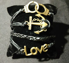 Gold Black Infinity Bracelet Charm Love Anchor Braided Wrap Fashion Jewelry