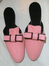 Felt Slippers Pin Up Bedroom Boudoir PINK / Black   * * retro vintage style