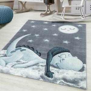 BAMBI KIDS NURSERY SOFT KIDDY CUTE SLEEPING SLEEPER DINASAUR RUG IN BLUE
