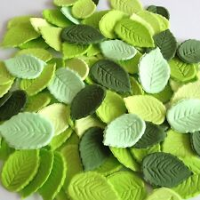 24 MIXED GREEN LEAVES Edible Sugar Paste Flowers Cupcake Cake Decorations Roses