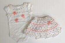 Gymboree Little Rome 3-6 Months Ribbon Rosettes Bodysuit & Polka Dot Skirt