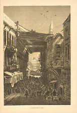 Cairo, Egypt, City View, Street Scene In Cairo, Vintage 1873 Antique Art Print