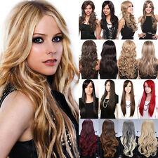 Hot Women Girls Daily Full Wavy Hair Wig 100% Real Thick Wigs Blonde Black Red