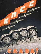 PROPAGANDA COSMONAUT GAGARIN USSR SOVIET COMMUNISM POSTER ART PRINT BB2422A