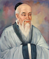 Oil painting portrait Lao Zi a great philosopher thinker of ancient China canvas
