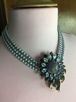 Heidi Daus Divine Miss Daisy Rhinestone Daisy Three Strand Beaded Necklace Blue