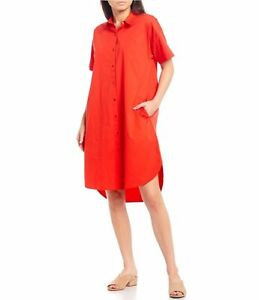 EILEEN FISHER Organic Cotton Stretch Shirt Dress (size 1X)
