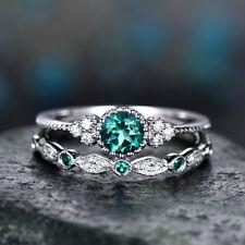 Fashion Green Round Cut Sapphire Women Wedding Ring 925 Silver Jewelry Size 7