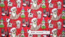 Christmas Holiday Pups Dogs Glitter on Red Cotton Fabric  BTY  (A) #