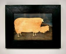 Vintage Rectangular Sheep In Landscape Painting Print