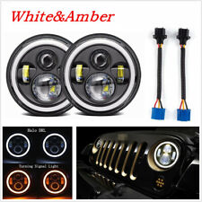 "2x 7"" Round 200W LED Headlight Halo Angle Eyes Dual Color DRL Turn Signal Lights"
