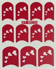 Nail Art Decal Stencil Stickers Hearts XF.M036