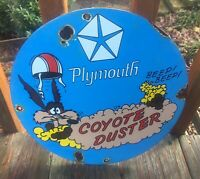 Vintage Plymouth Coyote Duster Heavy Porcelain Sign 12""