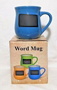 "Muddy Waters 16 oz ""CHALKBOARD"" Blue Word Mug NIB Personalize It!"