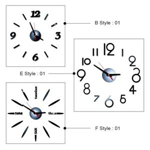 Digital 3D Wall Clock Acrylic Wall Sticker DIY Home Room Clocks Wall Home Decor