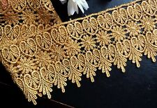 Metallic  Venise gold Lace, 3+3/4 inch wide selling by the yard