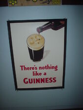 GUINNESS BEER POSTER NOTHING LIKE A GUINNESS FACE IN PINT GLASS  BUD BEER POSTER