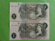 England 1 Pound 1970 - 1977 QEII (aUNC), Great Britian, 2pcs