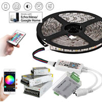 5m 20M WIFI RGB LED Strip waterproof 5050 SMD Diode Tape light remote power set