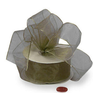 """2.5"""" OLD WILLOW GREEN SHEER ORGANZA WIRED RIBBON - 5 YARDS"""