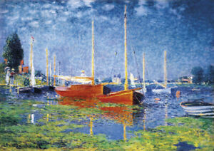 Monet - Red Boats - Large A2 size 42x59.4cm QUALITY Canvas Art Print Unframed