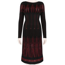 Alaia Exquisite Black Cherry Red Feu-Follet Form-Fitting Knitted Dress FR40 IT44