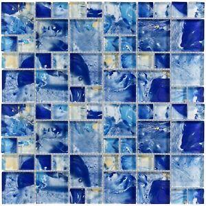 Modern French Pattern Blue Glossy Glass Mosaic Backsplash Tile Kitchen MTO0114