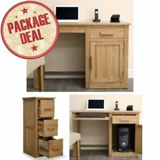 Arden Solid Oak Office Furniture Computer Desk And Three-Drawer Filing Cabinet