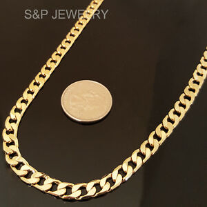 """14K GOLD STAMPED BRASS URBAN STYLE 6mm 24"""" RAPPER MIAMI CUBAN CHAIN NECKLACE"""