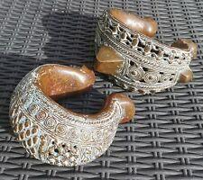 More details for stunning large benin antique bronze african currency ankle bracelets